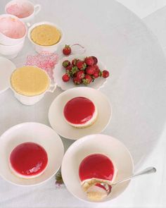 Strawberry Shortcake Jellies | Martha Stewart Living - All the familiar flavors of shortcake come together in this fanciful form. This recipe is perfect for serving during a Mother's Day brunch for a truly memorable dessert.