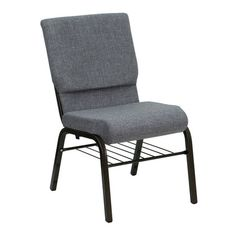 Flash Furniture HERCULES Series 18.5''W Church Chair in Gray Fabric with Book Rack - Gold Vein Frame