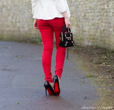Red Rebecca Minkoff Skinny Jeans With Black & White | Raindrops of Sapphire http://raindropsofsapphire.com/2014/04/06/the-black-the-white-the-red/