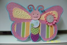 cute kids birthday card Bday Cards, Birthday Cards For Men, Handmade Birthday Cards, Butterfly Birthday Cards, Butterfly Crafts, Punch Art Cards, Birthday Scrapbook, Scrapbook Cards, Scrapbooking