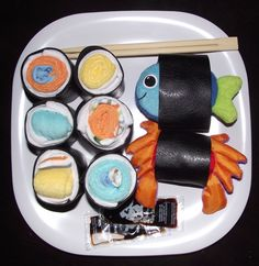 Sushi plate!  Washcloths and bath toys.  Great idea for a baby shower gift!