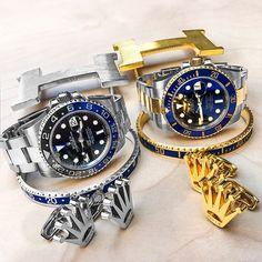 Rolex Duo💦 Gotta Have The Right Essentials when. Rolex Watches For Men, Luxury Watches For Men, Sport Watches, Cool Watches, Rolex Gmt Batman, Hand Watch, Antique Watches, Bracelet Watch, Rolex Bracelet