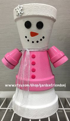 Snowman Clay Pot People Holiday Christmas Snow Indoor/Outdoor