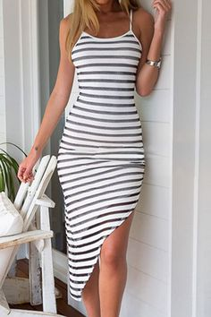 Stylish Spaghetti Strap Striped Asymmetrical Women's Dress