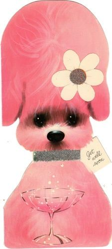 Get Well Soon Card with pink poodle