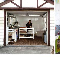 "The ultimate ""woman cave,"" converted garage into studio. Garage Art Studio, Basement Studio, Studio Shed, Dream Studio, Clay Studio, Garage Renovation, Garage Remodel, Garage Makeover, Garages"