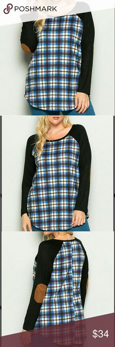 COMING SOON! PLUS Plaid Raglan Elbow Patch Tee Cute, comfy and trendy. Raglan long sleeve tee with faux suede elbow patches. Sz XL fits 14/16. Sz 2x fits 18/20. 31in long. 95%polyester, 5% spandex. Tops Tees - Long Sleeve
