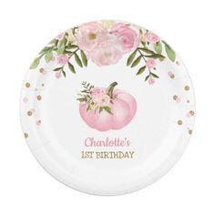 "Pink Floral Pumpkin 1st First Birthday 7"" Plate | Zazzle.com Pumpkin Birthday Parties, Pumpkin First Birthday, Fall Birthday, Girl First Birthday, Birthday Ideas, Baby Shower Plates, Baby Shower Fall, Fall Baby, Girl Shower"