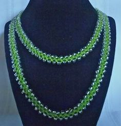 Infinity Beaded Necklace Handmade in Turkish Flat Stitch Crochet by Scrapindipity for $12.00