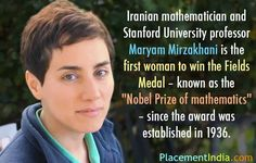 """#TrendingNews : Maryam Mirzakhani from Stanford University became the very first women to win a """" Nobel Prize of Mathematics """". #MaryamMirzakhani #NobelPrize #StandfordUniversity #Mathematics #PlacementIndia"""
