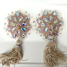 Luxuary swarovski Burlesque nipple tassels / pasties. Skin tone net.
