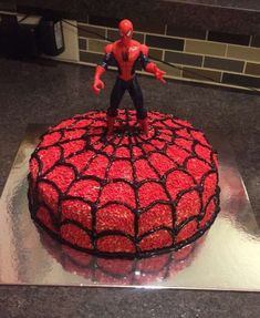 Spiderman birthday cake for the boys' 4th bday