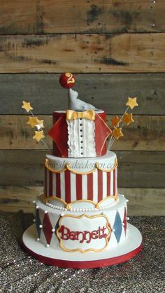Circus birthday cake, all fondant decorations. I pulled the inspiration from a few different cakes and used Jessicakes wax paper transfer me. Carnival Birthday Cakes, Circus Theme Cakes, Dumbo Birthday Party, Carnival Cakes, Circus Theme Party, Circus Birthday, Themed Cakes, Birthday Parties, Circus Food