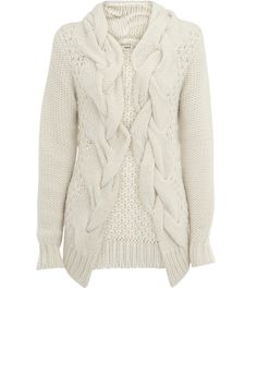 Oasis Shop | Off White Cable Front Hand Knit Cardigan | Womens Fashion Clothing | Oasis Stores UK - StyleSays