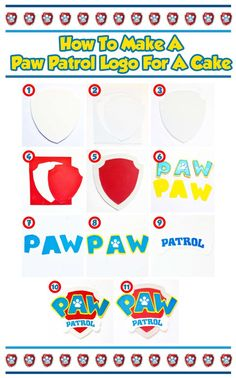 how to make paw patrol logo (How To Make Cake Birthday) Torta Paw Patrol, Paw Patrol Badge, Paw Patrol Cupcakes, Paw Patrol Cake Toppers, Paw Patrol Birthday Cake, Paw Patrol Party, Cupcake Toppers, Vanilla Buttermilk Cake, Snowflake Wedding