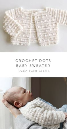 Free Pattern - Crochet Dots Baby Sweater I can't help myself crochet friends, I love to make baby sweaters! I tell my children to watch out, because… Crochet Baby Sweater Pattern, Crochet Baby Jacket, Crochet Baby Sweaters, Baby Sweater Patterns, Knitted Baby Clothes, Baby Clothes Patterns, Crochet Cardigan, Baby Patterns, Baby Knitting