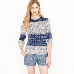 J.Crew- Marled Cable Pullover in Stripe