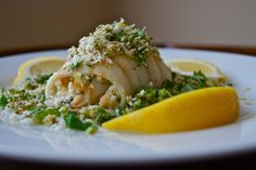 Crab-Meat-Stuffed Sole with Broccoli Topping - Healthy and Gourmet