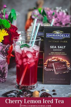 This summer raise the flavor level by pairing Ghirardelli Intense Dark Chocolate with this naturally hydrating & thirst-quenching Cherry Lemon Iced Tea! Delicious Vegan Recipes, Delicious Desserts, Vegetarian Recipes, Indian Food Recipes, Asian Recipes, Ghirardelli Chocolate, Afternoon Tea Parties, Roasted Almonds, Cold Brew
