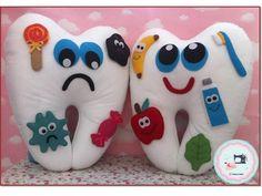 Felt Crafts Kids, Paper Crafts, Diy Crafts, Dental Kids, Dental Art, Felt Flowers, Fabric Flowers, Tooth Pillow, Toddler Learning Activities