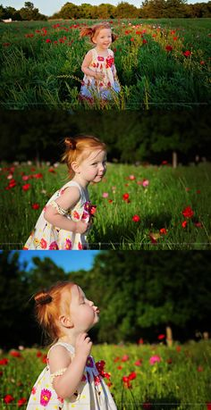 Little girl with red hair, picking wild red flowers in field. - bluebonnets, wildflowers, kids photography, posing ideas. child, children, outdoor. #outdoor_photography #outdoor_photography_children