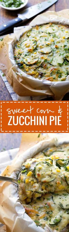Sweet Corn and Zucchini Pie - a simple crustless pie featuring fresh summer veggies and melted cheese
