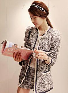 Korean Fashion Tweed Long Style Coat + Shorts