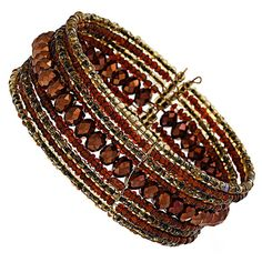 Brown faceted bead cuff ($9) ❤ liked on Polyvore