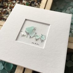 5 by 5 Mini unframed pebble art picture by sharon nowlan, matted sea glass and pebble art