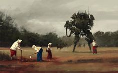 Idyllic paintings of daily life set centuries ago are spliced with a dystopian sci-fi fantasy in German artist Jakub Rozalski's work. Nostalgic elements clash with futuristic ones as giant ro… Diesel Punk, Rpg Cyberpunk, Science Fiction, Mekka, Alternate History, Ex Machina, Meet The Artist, Illustrations, Funny Illustration