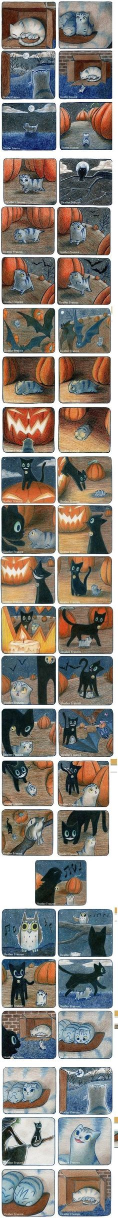 Heather Franzen - adorable comic for Halloween! Black cat...