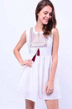 Embroidered Front Dress (White) S$ 38.00