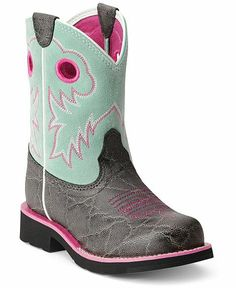 Ariat Children's Elephant Print Fatbaby Cowgirl Boots - Round Toe - Sheplers