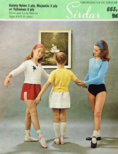 Knitting Pattern girls easy knit motif & plain crossover ballet top sirdar 663