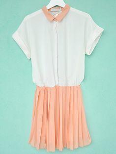 Orange Lapel Short Sleeve Pleated High Waist Chiffon Dress