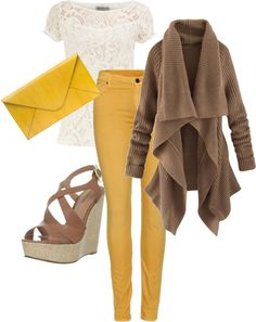 I love the sweater.  Yellow is cute too.