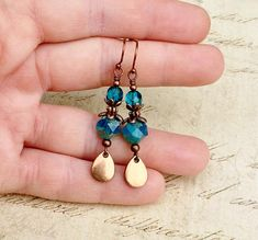 Turquoise Earrings Teal Earrings Blue Earrings Copper