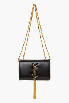 SAINT LAURENT Black Leather Tassel Monogram Shoulder Bag