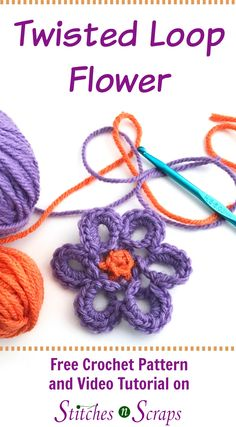 Twisted Loop Flower - A free crochet pattern on Stitches n Scraps