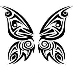 Tribal butterfly tattoo vector illustration