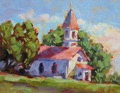 COUNTRY CHURCH BY TOM BROWN, original painting by artist Tom Brown ...