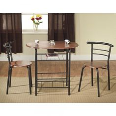 Two Person Dining Set Small Dinette Table Chairs 2 Seat Breakfast Nook Modern #TMS #Modern