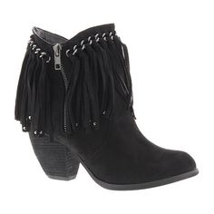 Not Rated Ayita ($65) ❤ liked on Polyvore featuring shoes, boots, ankle booties, black, black fringe boots, black boots, black high heel booties, black booties and fringe boots