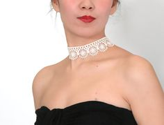 SALE white / black pink lace choker necklace  wedding by LaceFancy