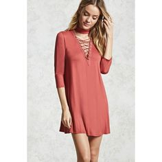 Forever21 Lace-Up Choker Neck Dress ($15) ❤ liked on Polyvore featuring dresses, brick, lace up dress, sleeved dresses, red 3 4 sleeve dress, faux-leather dresses and red mini dress