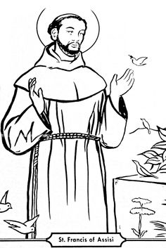 Saint Francis of Assisi Catholic coloring pages. Feast day October 4th