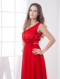 fe0842e0f14 Red Elastic Silk Like Satin One Shoulder Empire Waist Evening Dress  Silk