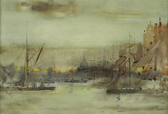 Artwork by James Watterson Herald, ST. PAULS FROM THE THAMES, SUNSET, Made of Watercolour