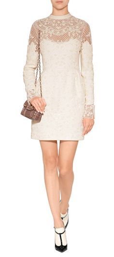 Exquisitely embellished with lace-like beading, this light-hued sheath from Valentino is an elegant example of haute-handicraft at its finest #Stylebop