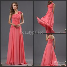 Wholesale Junior Bridesmaid Dresses - Buy High Quality A Line Sweep Train Watermelon Chiffon Pleated Sleeveless Beads Bow Coral Bridesmaid Dresses Long Prom Dresses Evening Gowns, $112.5 | DHgate